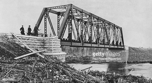 A steel railway bridge over the Bolshoi Kemchug River near Krasnoyarsk in Western Siberia circa 1925 The bridge is on the TransSiberian Railway