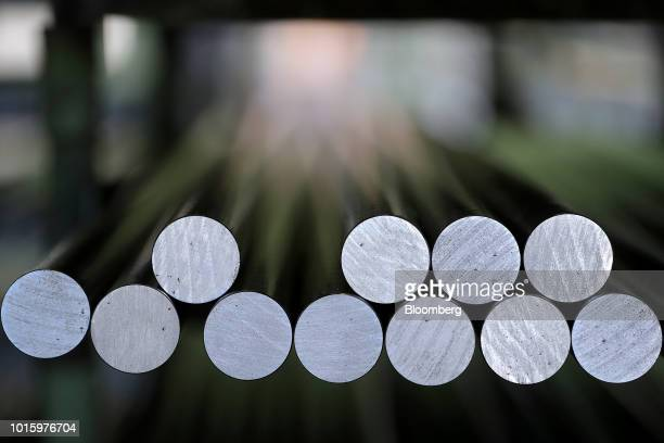 Steel rods sit in a storage area at the Schaeffler AG automotive component factory in Herzogenaurach Germany on Tuesday July 3 2018 Schaeffler the...