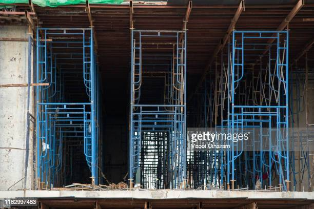 steel scaffolding structure on the construction site. - crash site stock pictures, royalty-free photos & images