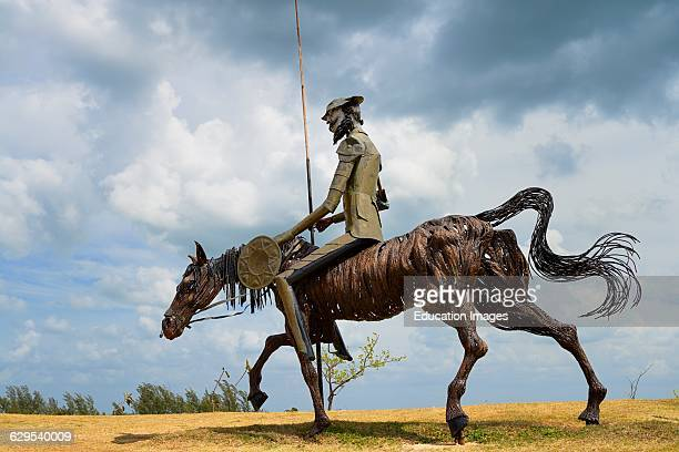 Steel sculpture of Don Quixote on horseback in Varadero Cuba