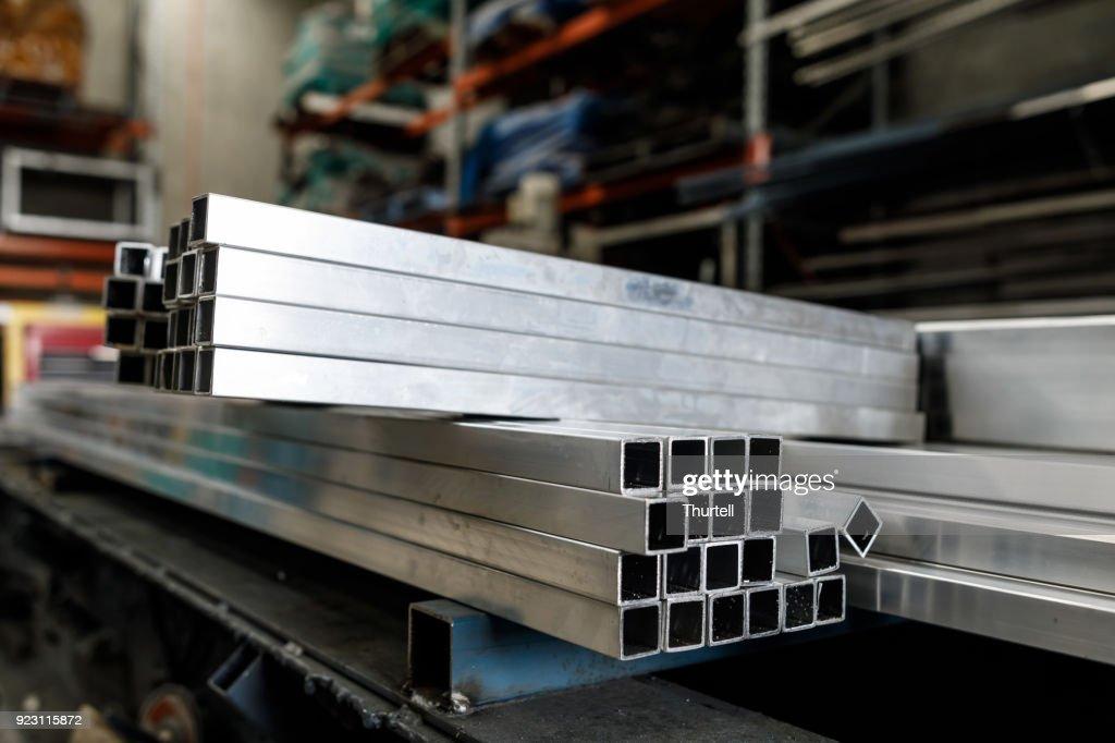 Steel Tubes At Metal Work factory : Stock Photo