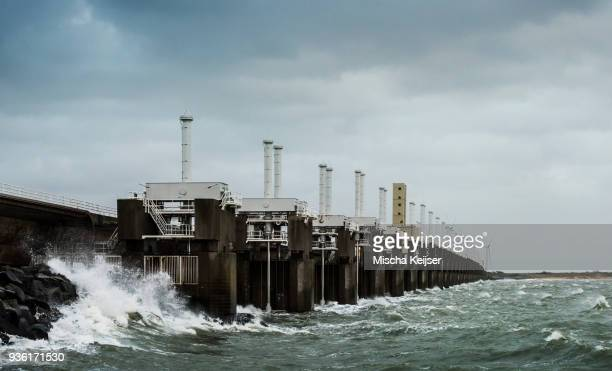 Steel valves at Neeltje-Jans Oosterschelde flood barrier closed to protect the Netherlands during a storm