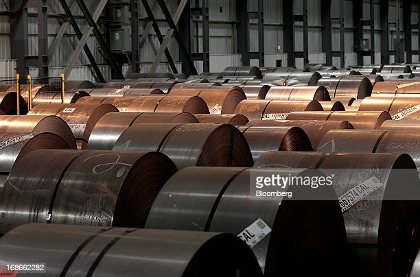 Steel waits to be processed on the Continuous Annealing Line at the PROTEC Coating Co facility in Leipsic Ohio US on Monday May 13 2013 PROTEC...