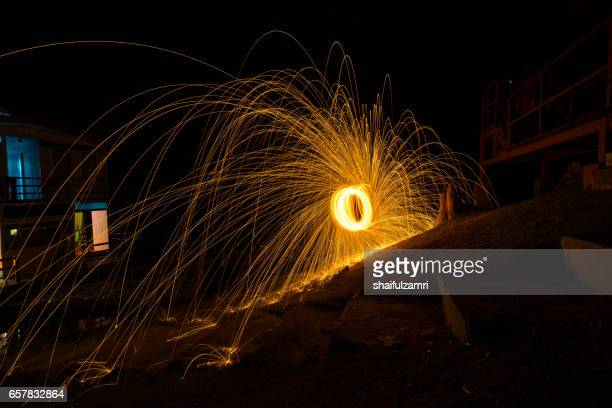 Steel wool photography in the twilight