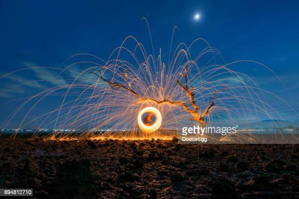Steel Wool with Fire and Alone Tree