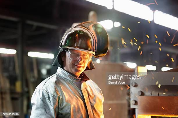 Steel worker in foundry