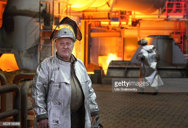 Steel worker in front of the new blast furnace 8 at ThyssenKrupp Steel AG on January 28 in Duisburg Germany ThyssenKrupp is one of the world's...