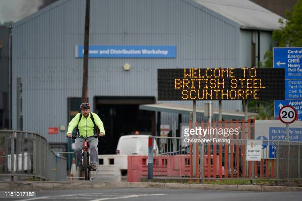 Steel worker leaves British Steel's Scunthorpe works, at the end of his shift, which has been forced into liquidation today on May 22, 2019 in...
