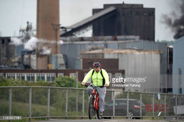 A steel worker leaves British Steel's Scunthorpe works at the end of his shift which has been forced into liquidation today on May 22 2019 in...