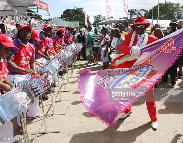 Steel Xplosion Steel Orchestra performs during National Panorama Semi-Finals in the Queens Park Savannah as part of Trinidad and Tobago Carnival on...