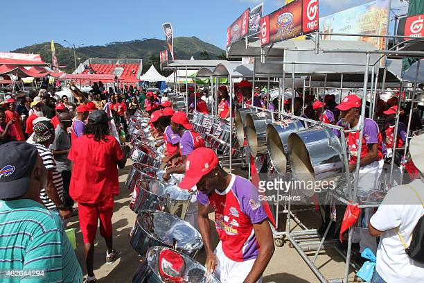 Steel Xplosion Steel Orchestra performs during National Panorama SemiFinals in the Queens Park Savannah as part of Trinidad and Tobago Carnival on...