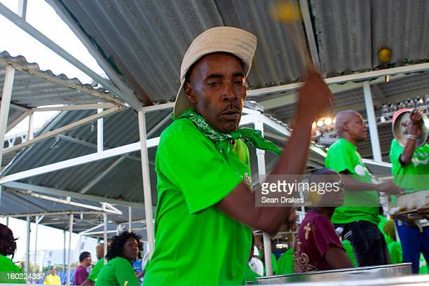 A steelband musician performs at Panorama semifinals at Queen's Park Savannah in Port of Spain Trinidad and Tobago on January 27 2013 Carnival in...