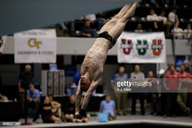 Steele Johnson of Purdue competes in platform diving during the Division I Men's Swimming Diving Championship held at the Indiana University...