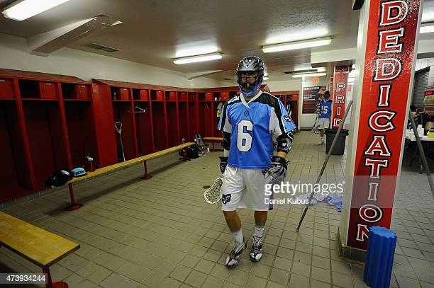 Steele Stanwick of the Ohio Machine prepares in the locker room prior to a game against the Charlotte Hounds at Selby Stadium on May 16 2015 in...