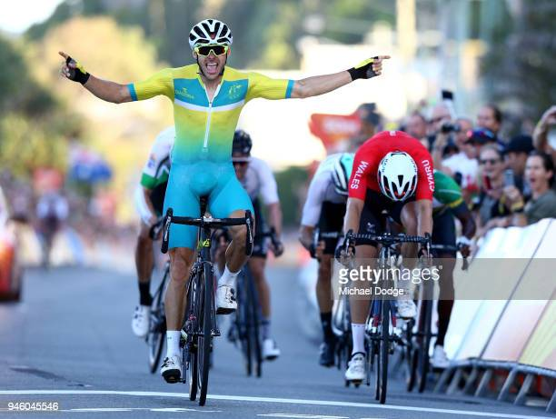 Steele Von Hoff of Australia celebrates victory in the Men's Road Race on day 10 of the Gold Coast 2018 Commonwealth Games at Currumbin Beachfront on...