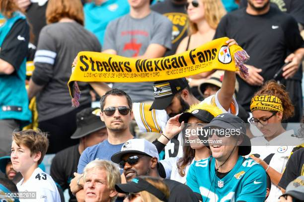 Steelers fan holds a Steelers Mexican Fans scarf during the first half of an NFL game between the Pittsburgh Steelers and the Jacksonville Jaguars on...