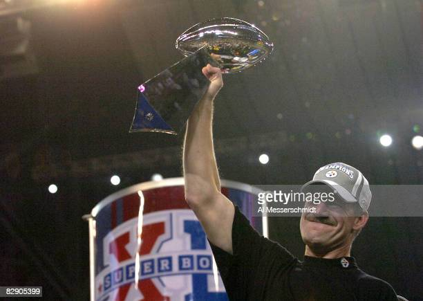 Steelers head coach Bill Cowher holds the Vince Lombardi trophy after the Steelers won Super Bowl XL between the Pittsburgh Steelers and Seattle...