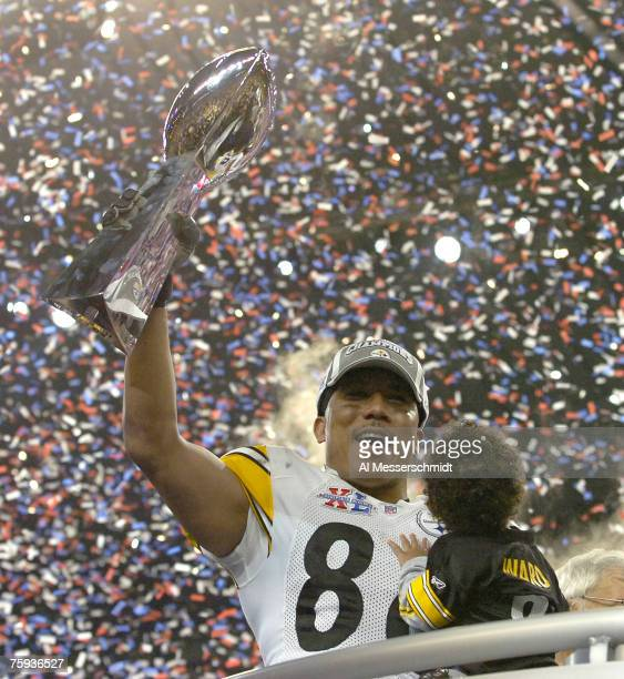 Steelers Hines Ward, who won the MVP, holds the Vince Lombardi trophy after the Steelers won Super Bowl XL between the Pittsburgh Steelers and...