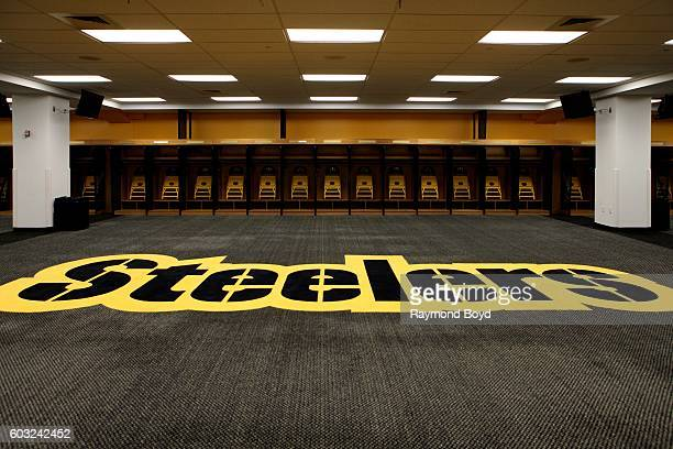 Steelers logo inside Steelers locker room inside Heinz Field home of the Pittsburgh Steelers and Pittsburgh Panthers football teams in Pittsburgh...