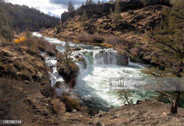 steelhead falls on the deschutes river in central oregon - deschutes national forest stock pictures, royalty-free photos & images