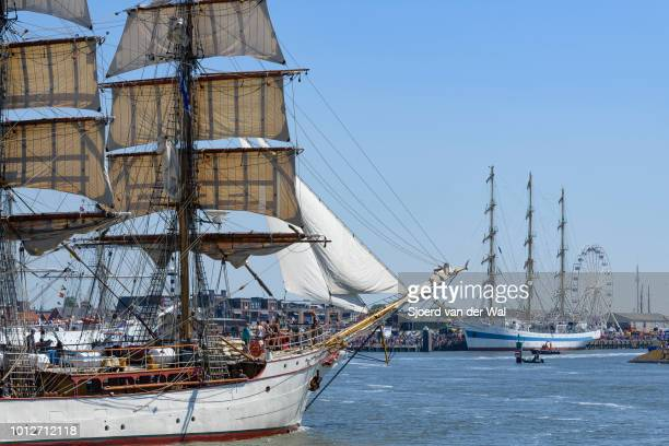Steelhulled barque Europa entering the port of Harlingen during the finish of the 2018 Tall Ship Race on August 3 2018 in Harlingen Netherlands
