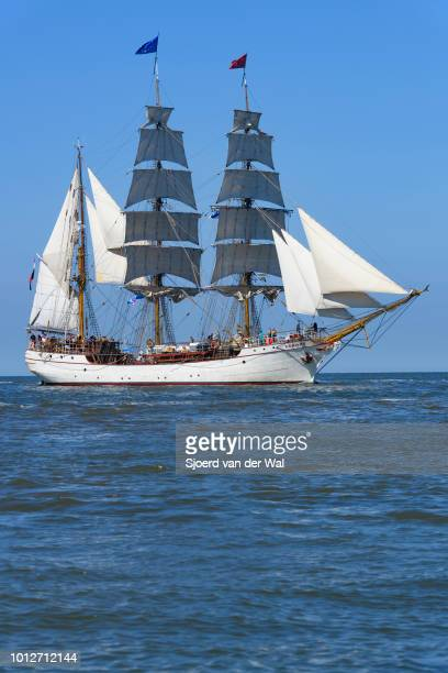Steel-hulled barque Europa entering the port of Harlingen during the finish of the 2018 Tall Ship Race on August 3, 2018 in Harlingen, Netherlands.