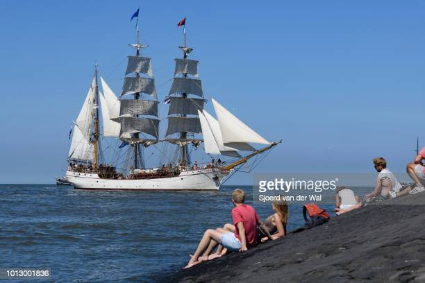Steel-hulled barque Europa entering the port of Harlingen during the finish of the 2018 Tall Ship Race on August 3, 2018 in Harlingen, Netherlands....