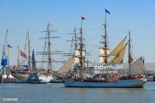 Steelhulled barque Europa entering the port of Harlingen during the finish of the 2018 Tall Ship Race on August 3 2018 in Harlingen Netherlands...