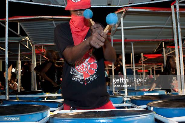 Steelpan musician performs at Panorama semifinals at Queen's Park Savannah in Port of Spain Trinidad and Tobago on January 27 2013 Carnival in...