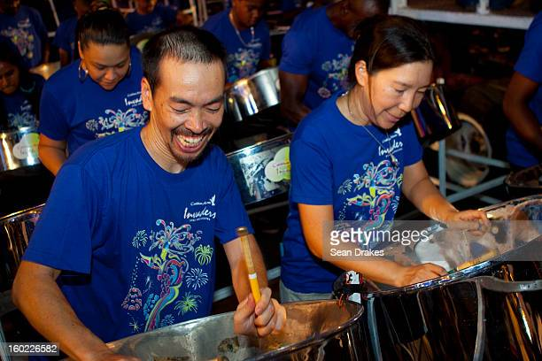 Steelpan musicians performs at Panorama semifinals at Queen's Park Savannah in Port of Spain Trinidad and Tobago on January 27 2013 Carnival in...