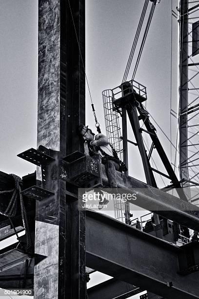 Steel-worker fastening girders, Chelsea, Manhattan, New York City