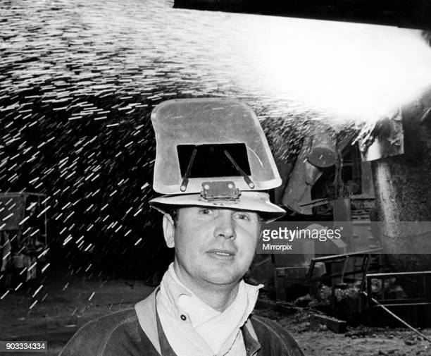 Steelworker Tony Dooley of Portmead, Swansea, with the VLN converter in the background at the British Steel Corporation's Port Talbot plant. 15th...