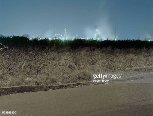 steelworks at night - port talbot stock pictures, royalty-free photos & images