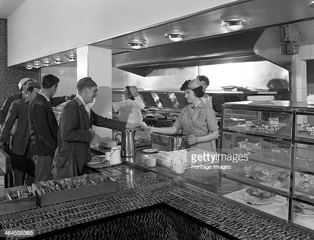 Steelworks canteen Park Gate Rotherham South Yorkshire 1964 One of the canteens which operated in various parts of the works They supplied hot and...
