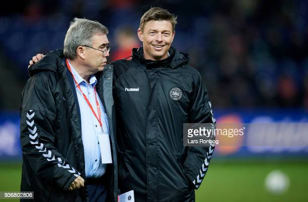 Steen Dahrup team leader of the bDenmark team with Jon Dahl Tomasson of Denmark prior to the International friendly match between Denmark and Panama...