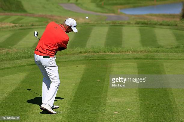 Steen Tinning of Denmark in action during the first round of the Paris Legends Championship played on L'Albatros course at Le Golf National on...