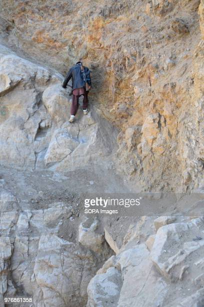 """Steep ascent to the lapis lazuli mine """"Junduk"""", Mahdan-i Lojward . Over the past years the government embargoed what it deems to be illegally mined..."""