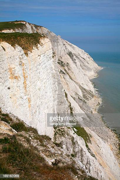 Steep chalk and flint cliffs at Beachy Head East Sussex England a notorious suicide spot