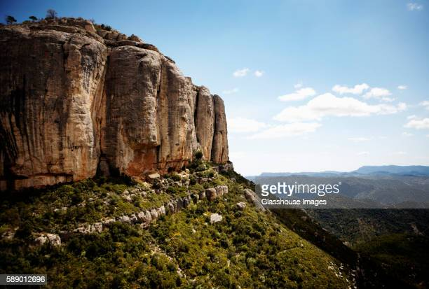 steep cliff and mountain landscape, catalonia, spain - 岩壁 ストックフォトと画像