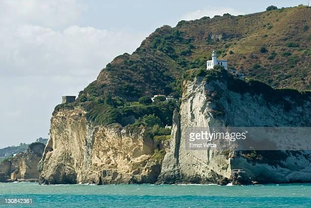 steep coastline, miseno lighthouse, car ferry, gulf of naples, campania, italy - escarpment stock pictures, royalty-free photos & images