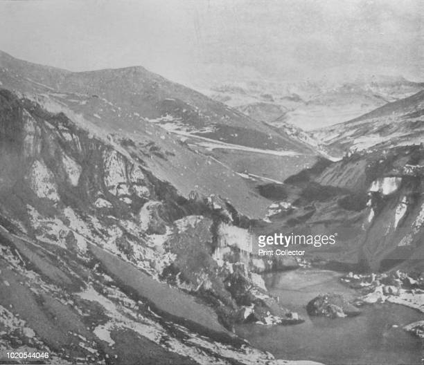 Steep Gully Cut By The Alph River Through The Ancient Lateral Moraine of the Koettlitz Glacier', circa 1911, . The final expedition of British...