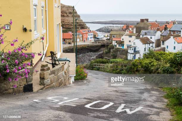 steep road leading into staithes - north stock pictures, royalty-free photos & images