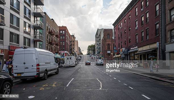 Steep street in Spanish Harlem, New York City, United States