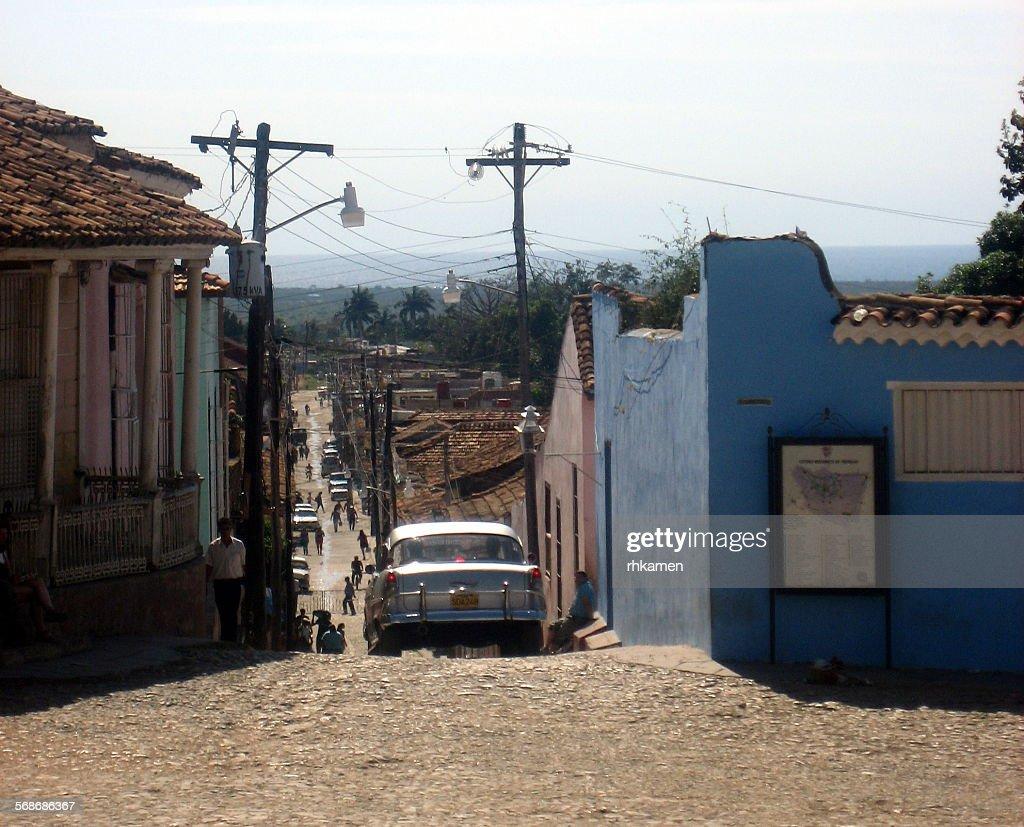 Steep street, Trinidad, Cuba : Stock Photo