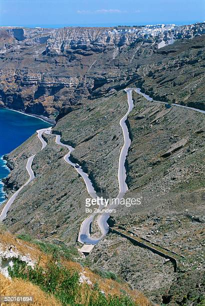 Steep Switchback Road on Thira in Greece