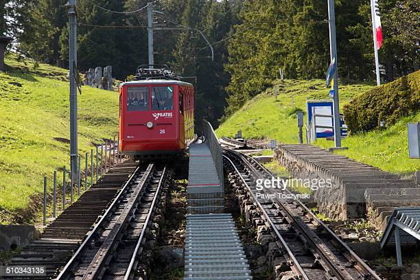 steepest rack railway in the world, to mt pilatus - steep stock photos and pictures