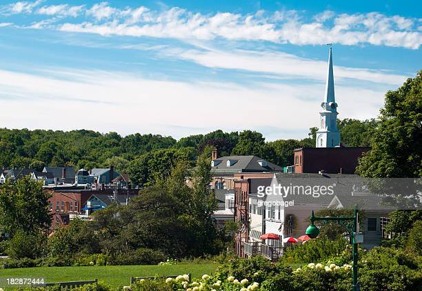 Steeple and buildings in Camden, ME