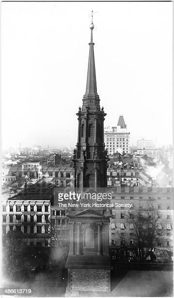 Steeple of St Paul's Chapel, New York, New York, 1895.