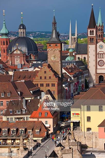 steeples in wurzburg in germany - peter adams stock pictures, royalty-free photos & images