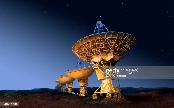 Steerable parabolic reflector Type of adjustable radio telescope in the shape of a saucer its power depends on its diameter